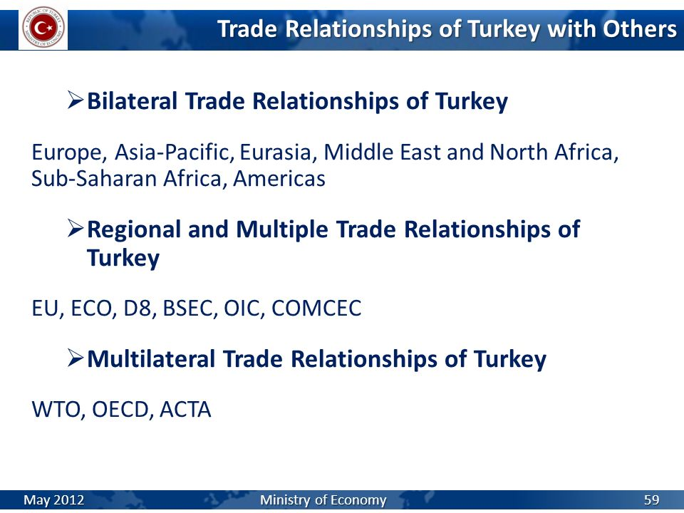 Trade Relationships of Turkey with Others Bilateral Trade Relationships of Turkey Europe, Asia-Pacific, Eurasia, Middle East and North Africa, Sub-Sah