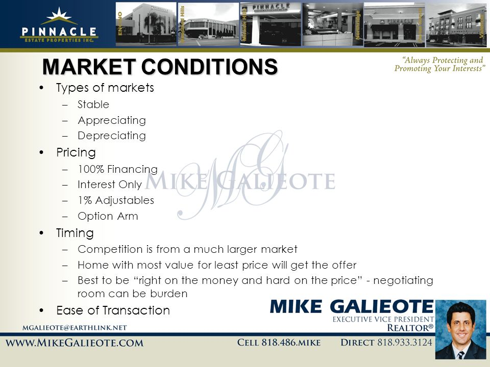 MARKET CONDITIONS Types of markets –Stable –Appreciating –Depreciating Pricing –100% Financing –Interest Only –1% Adjustables –Option Arm Timing –Comp