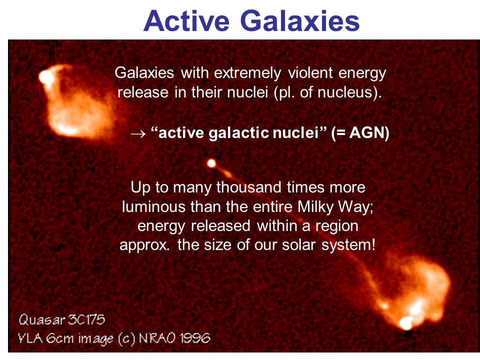 Active Galaxies Galaxies with extremely violent energy release in their nuclei (pl. of nucleus). active galactic nuclei (= AGN) Up to many thousand ti