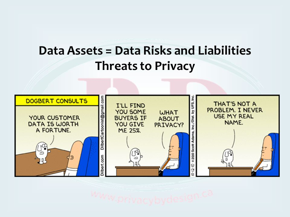 Data Assets = Data Risks and Liabilities Threats to Privacy