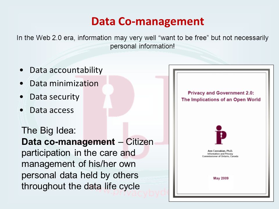 Data Co-management Data accountability Data minimization Data security Data access In the Web 2.0 era, information may very well want to be free but n
