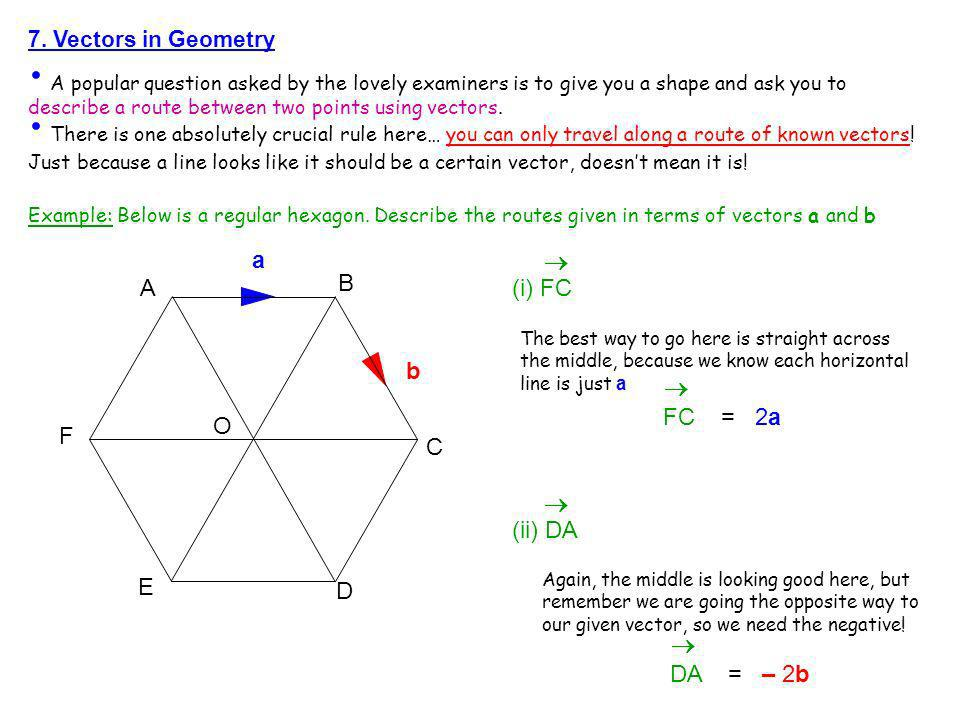 7. Vectors in Geometry A popular question asked by the lovely examiners is to give you a shape and ask you to describe a route between two points usin