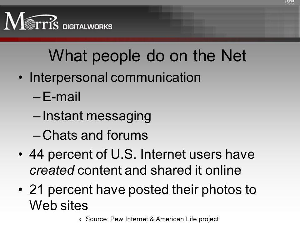What people do on the Net Interpersonal communication –E-mail –Instant messaging –Chats and forums 44 percent of U.S. Internet users have created cont