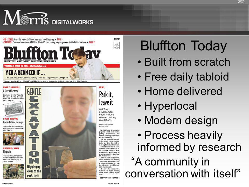 Bluffton Today Built from scratch Free daily tabloid Home delivered Hyperlocal Modern design Process heavily informed by research A community in conve