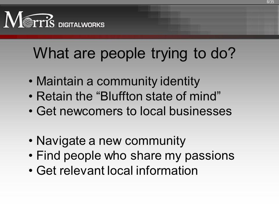 What are people trying to do? Maintain a community identity Retain the Bluffton state of mind Get newcomers to local businesses Navigate a new communi