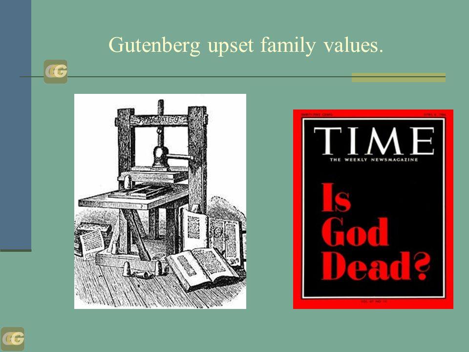 Gutenberg upset family values.