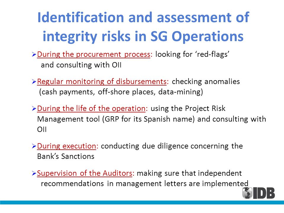 Identification and assessment of integrity risks in SG Operations During the procurement process: looking for red-flags and consulting with OII Regula
