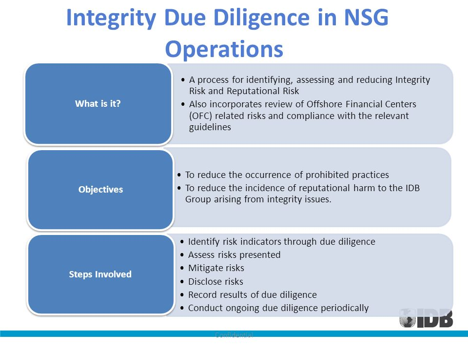 Integrity Due Diligence in NSG Operations A process for identifying, assessing and reducing Integrity Risk and Reputational Risk Also incorporates rev