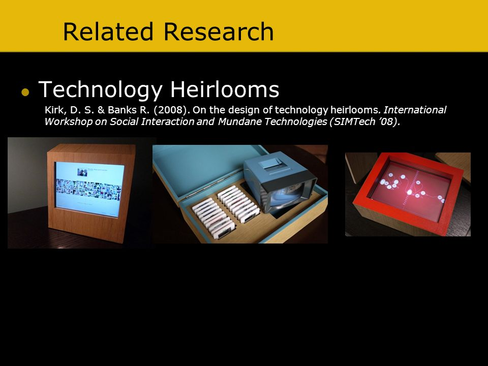 Related Research Technology Heirlooms Kirk, D. S.