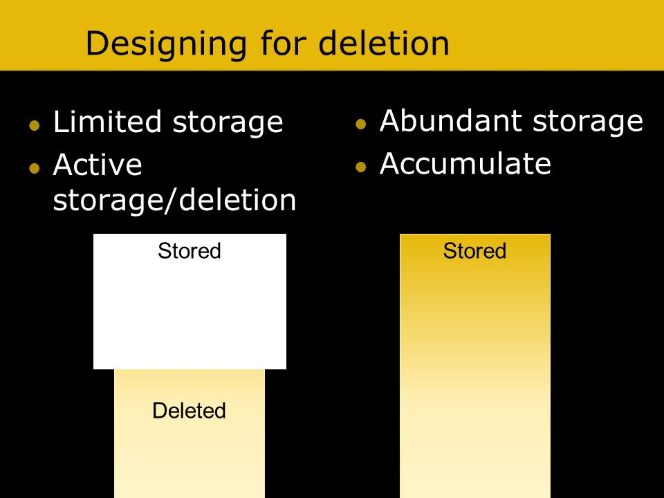 Designing for deletion Limited storage Active storage/deletion Stored Deleted Stored Abundant storage Accumulate
