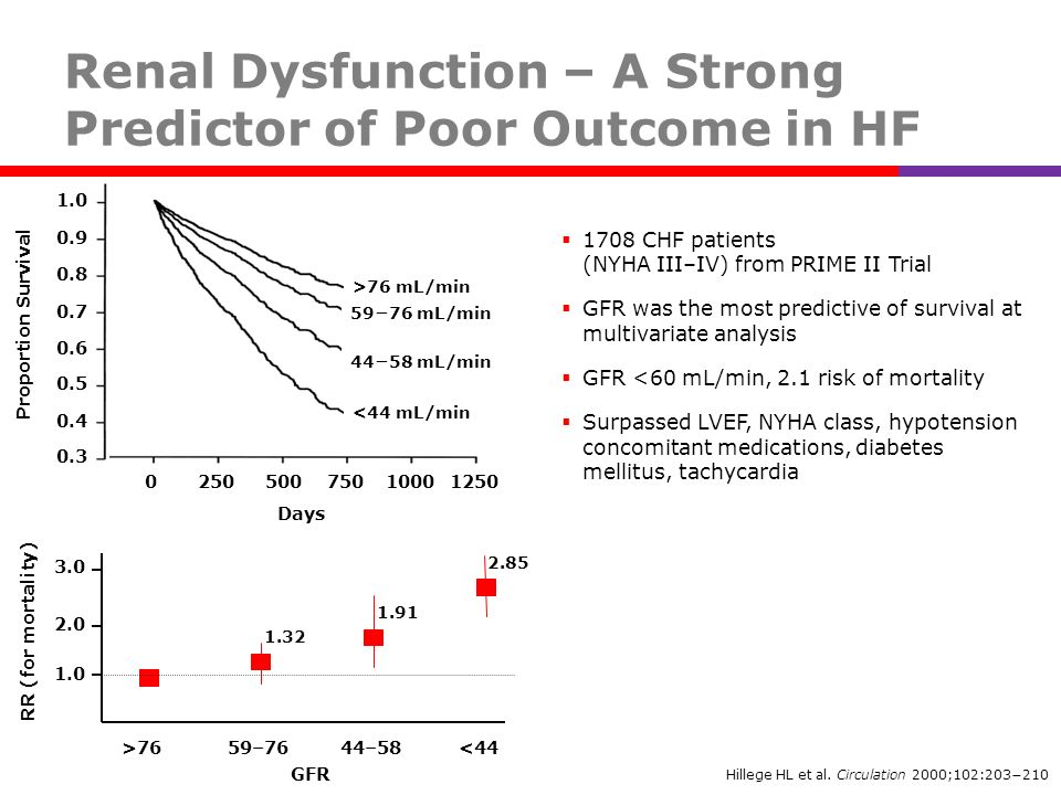Hillege HL et al. Circulation 2000;102:203210 RR (for mortality) 1.0 3.0 2.0 GFR >76 59–7644–58 <44 1.91 2.85 1.32 1708 CHF patients (NYHA III–IV) fro