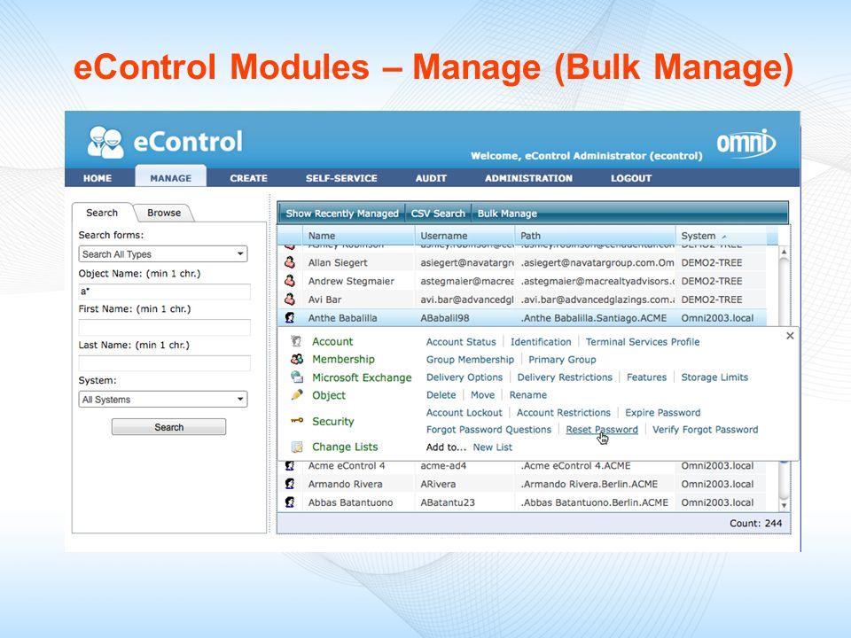 eControl Modules – Manage (Bulk Manage)