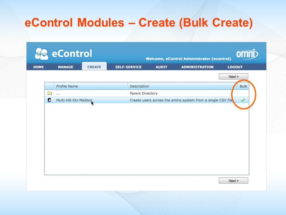 eControl Modules – Create (Bulk Create)