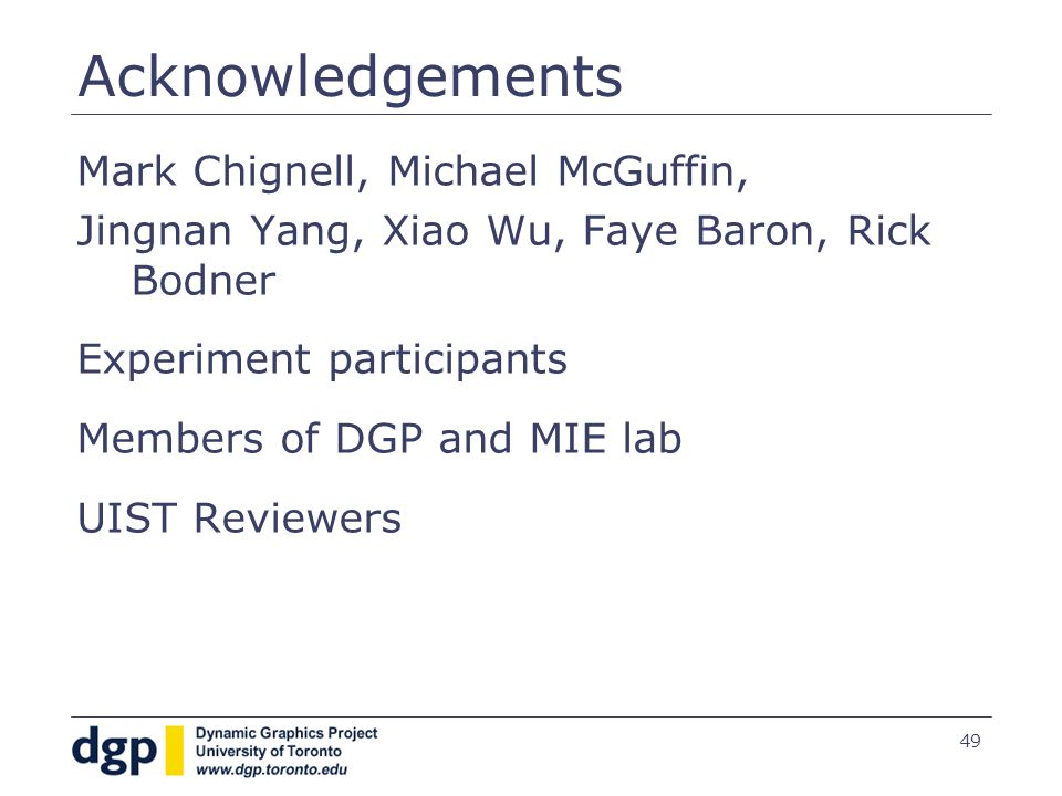 49 Acknowledgements Mark Chignell, Michael McGuffin, Jingnan Yang, Xiao Wu, Faye Baron, Rick Bodner Experiment participants Members of DGP and MIE lab
