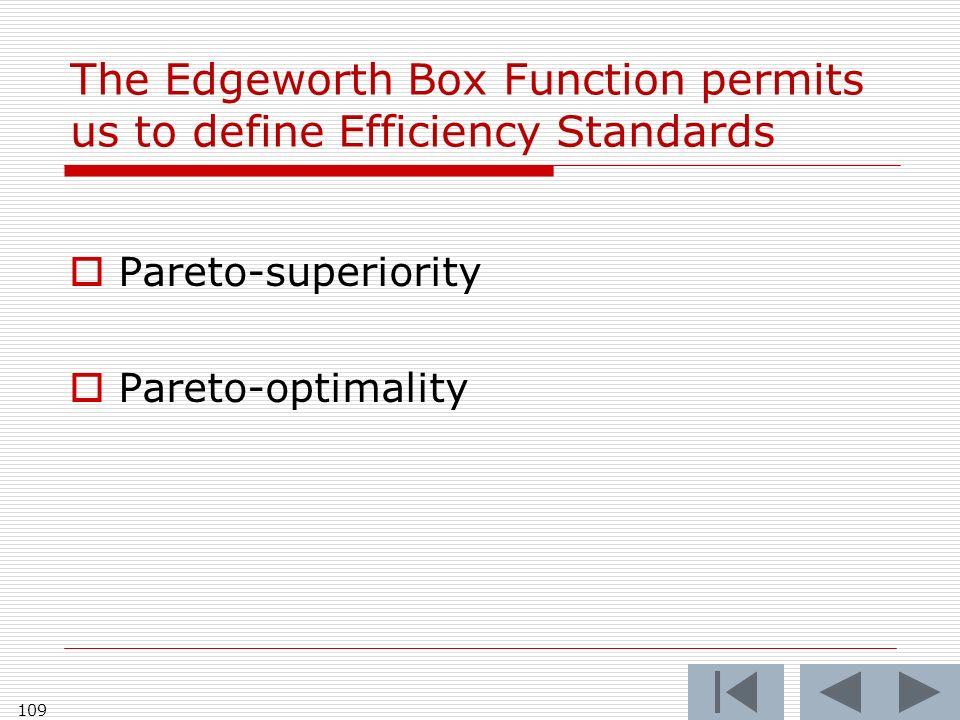 The Edgeworth Box Function permits us to define Efficiency Standards Pareto-superiority Pareto-optimality 109