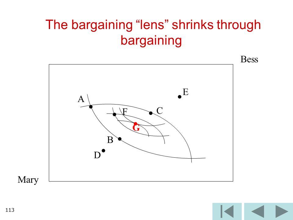 113 The bargaining lens shrinks through bargaining Mary Bess A B C D E F G 113
