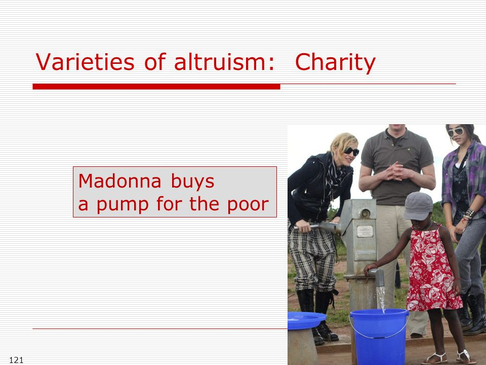 121 Varieties of altruism: Charity Madonna buys a pump for the poor