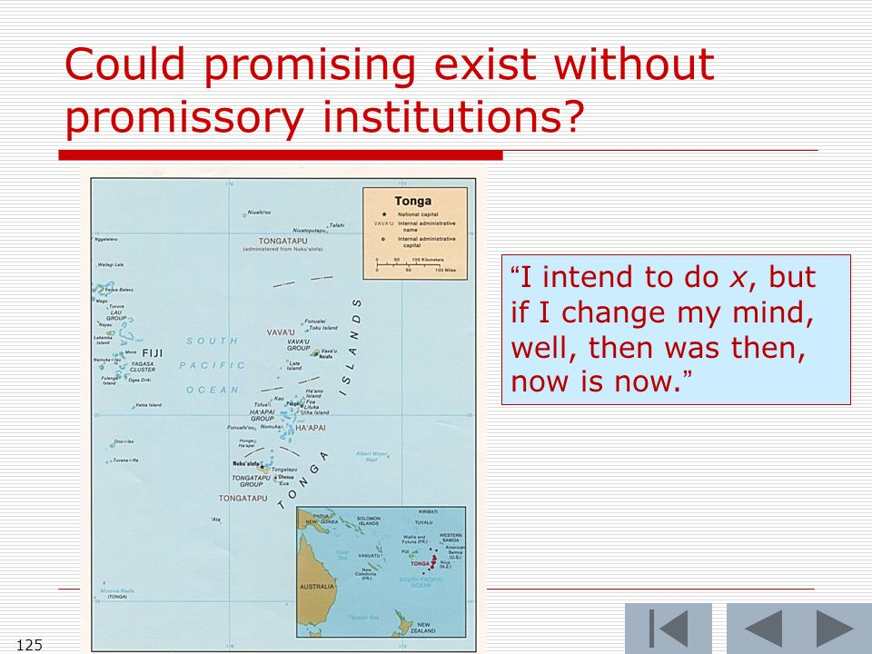Could promising exist without promissory institutions? 125 I intend to do x, but if I change my mind, well, then was then, now is now.