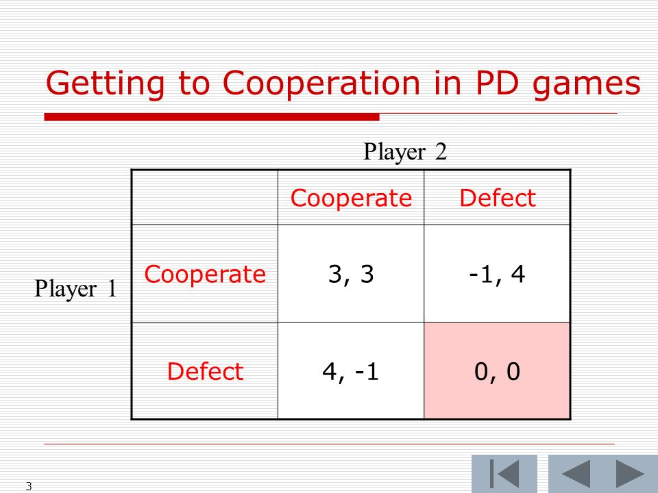 3 CooperateDefect Cooperate3, 3-1, 4 Defect4, -10, 0 Player 2 Player 1 Getting to Cooperation in PD games