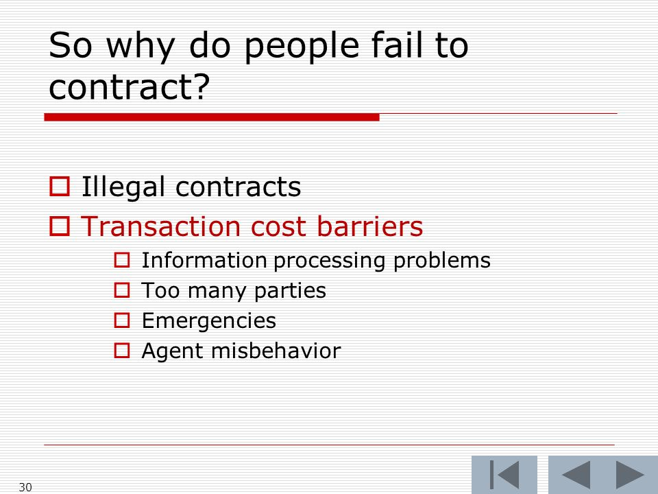 So why do people fail to contract.