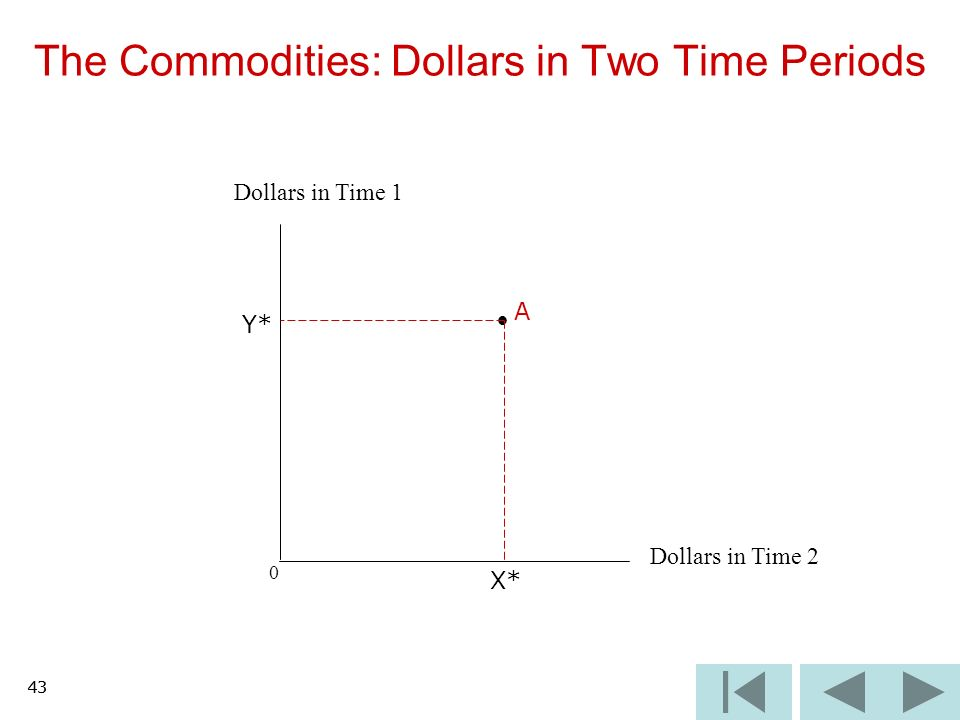 43 0 The Commodities: Dollars in Two Time Periods Dollars in Time 2 Dollars in Time 1 A X* Y* 43