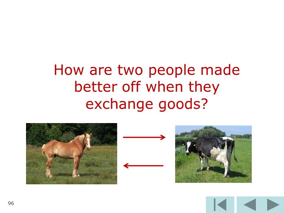 96 How are two people made better off when they exchange goods