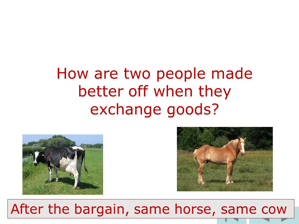97 How are two people made better off when they exchange goods.