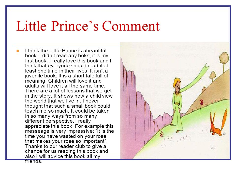 Little Princes Comment I think the Little Prince is abeautiful book.