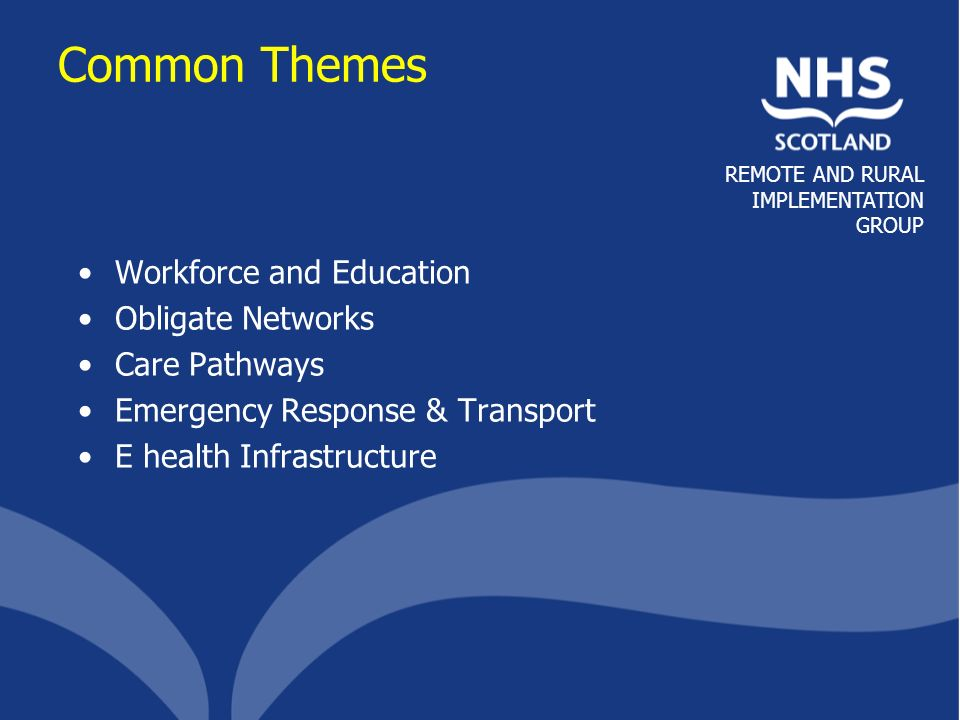 REMOTE AND RURAL IMPLEMENTATION GROUP Common Themes Workforce and Education Obligate Networks Care Pathways Emergency Response & Transport E health Infrastructure