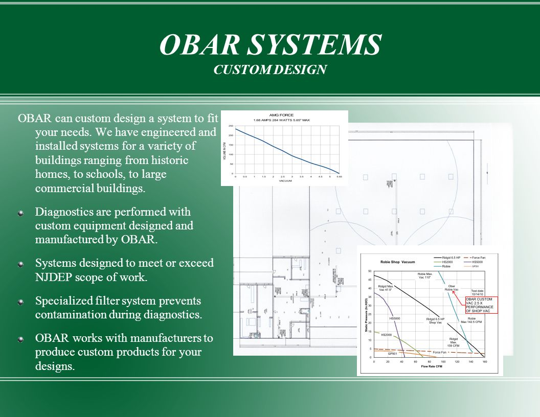 OBAR SYSTEMS CUSTOM DESIGN OBAR can custom design a system to fit your needs. We have engineered and installed systems for a variety of buildings rang