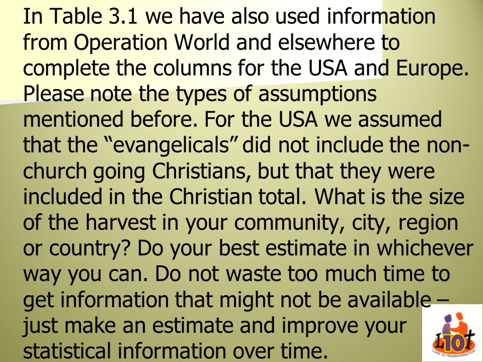 In Table 3.1 we have also used information from Operation World and elsewhere to complete the columns for the USA and Europe. Please note the types of