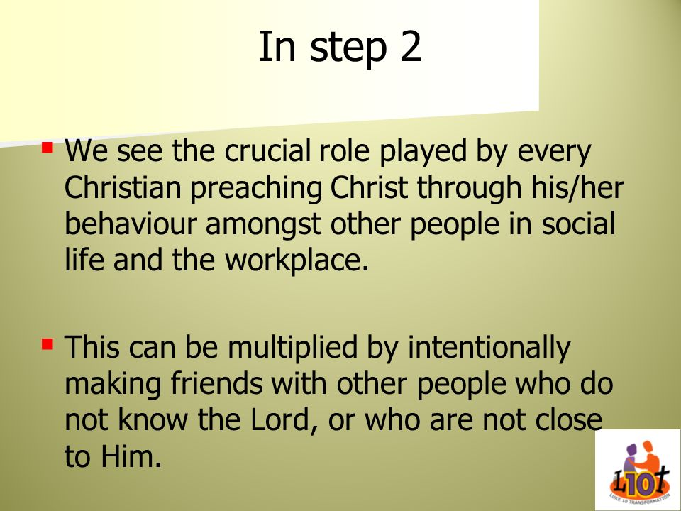 In step 2 We see the crucial role played by every Christian preaching Christ through his/her behaviour amongst other people in social life and the wor