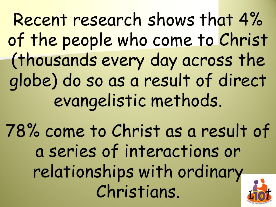 Recent research shows that 4% of the people who come to Christ (thousands every day across the globe) do so as a result of direct evangelistic methods