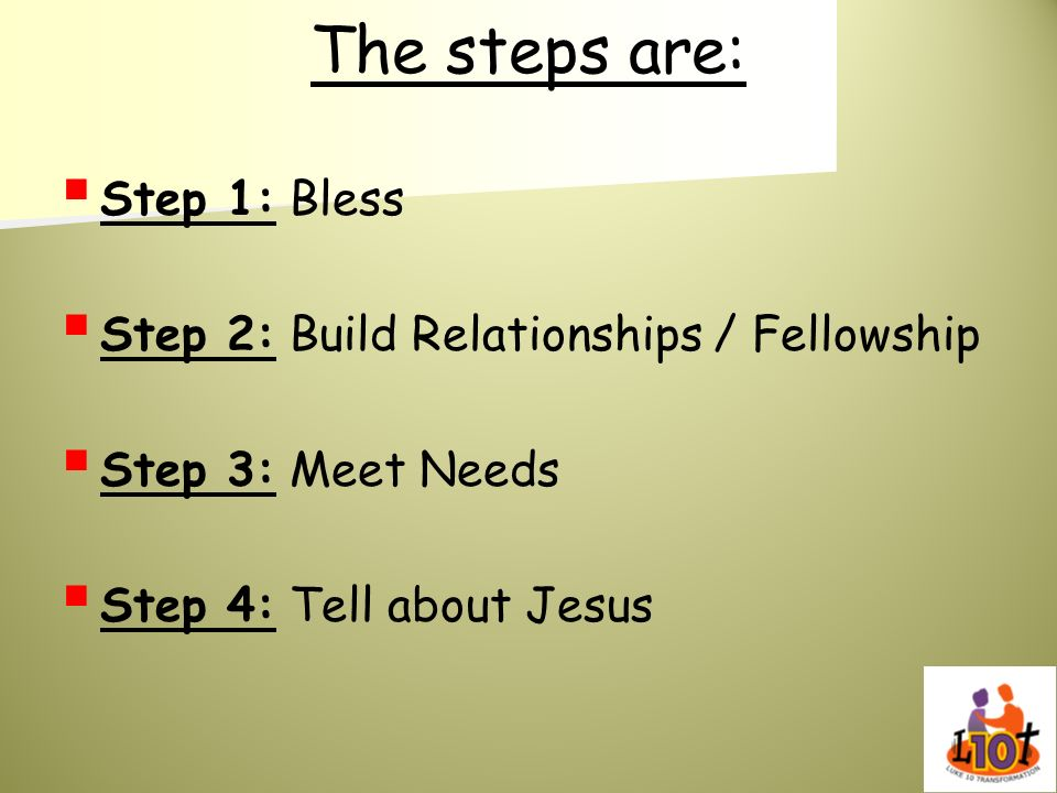 The steps are: Step 1: Bless Step 2: Build Relationships / Fellowship Step 3: Meet Needs Step 4: Tell about Jesus