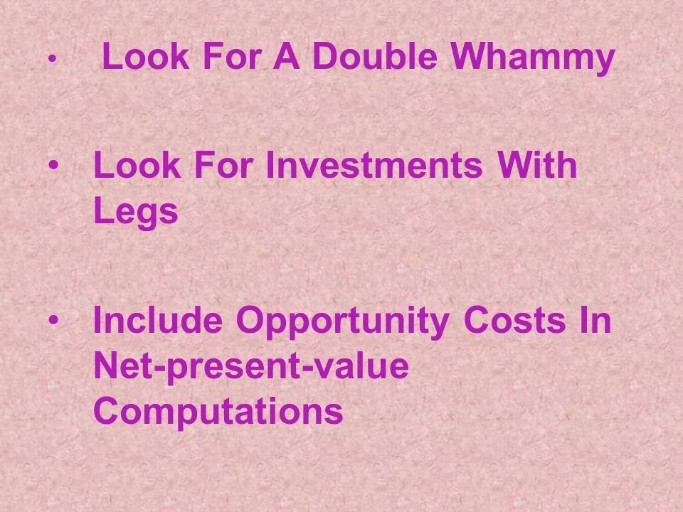 Look For A Double Whammy Look For Investments With Legs Include Opportunity Costs In Net-present-value Computations