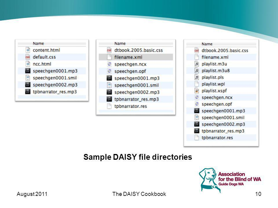 Sample DAISY file directories August 2011The DAISY Cookbook10