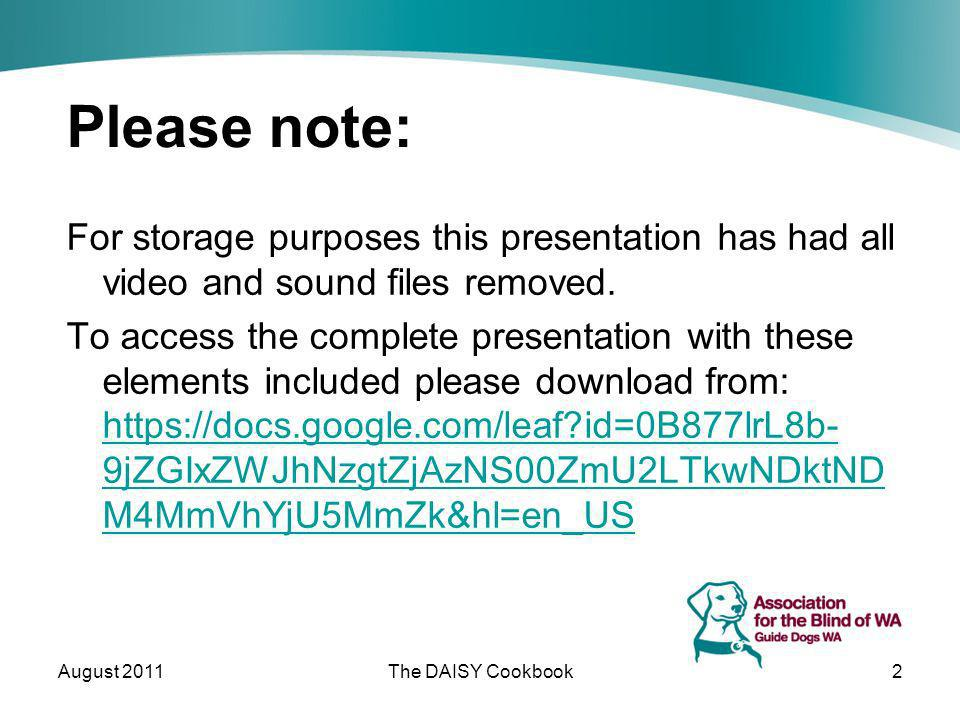 Please note: For storage purposes this presentation has had all video and sound files removed. To access the complete presentation with these elements