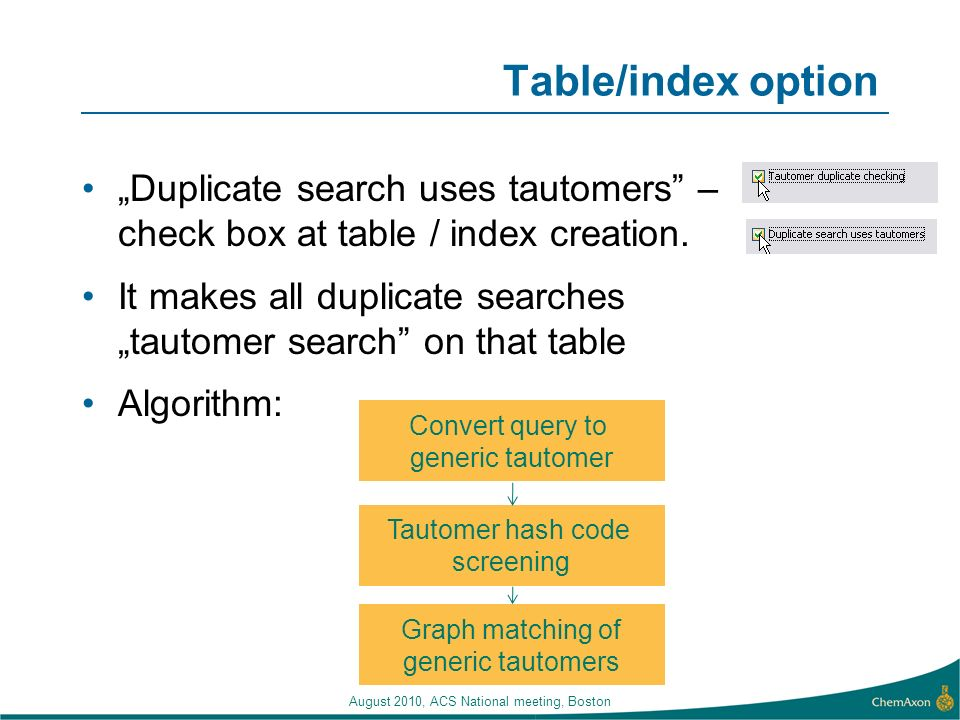 Table/index option Duplicate search uses tautomers – check box at table / index creation. It makes all duplicate searches tautomer search on that tabl