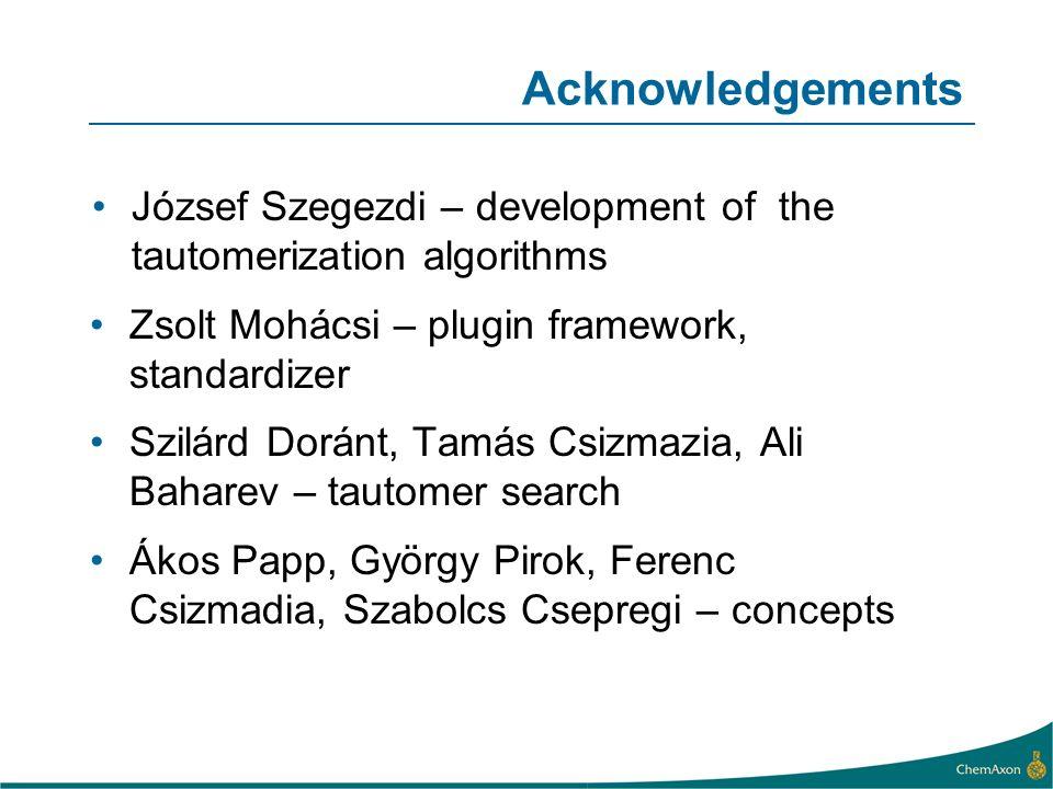 Acknowledgements József Szegezdi – development of the tautomerization algorithms Zsolt Mohácsi – plugin framework, standardizer Szilárd Doránt, Tamás
