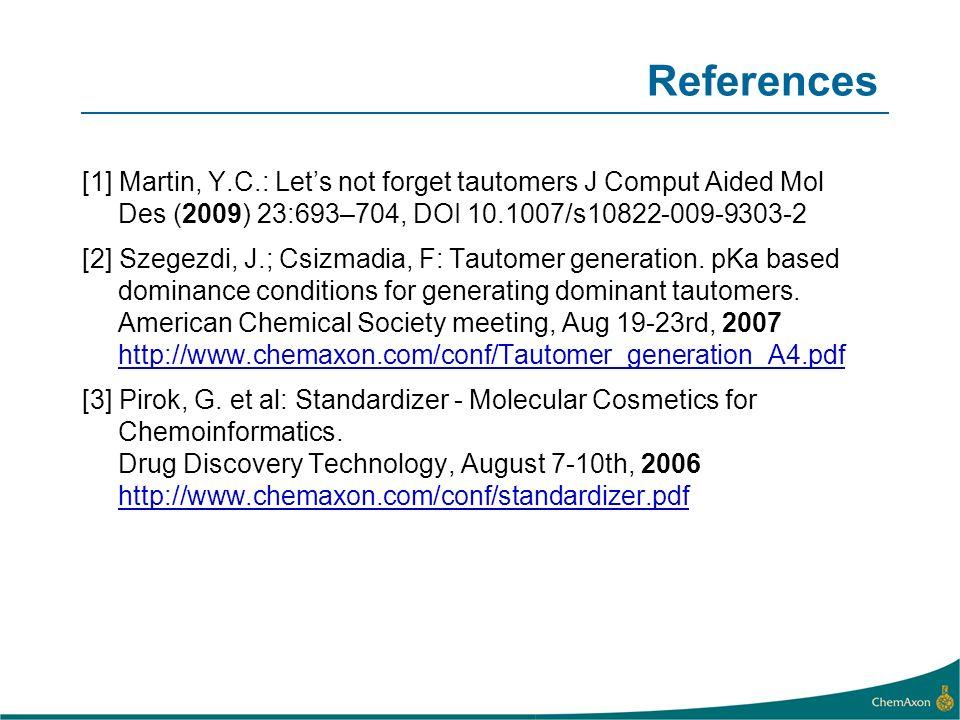 References [1] Martin, Y.C.: Lets not forget tautomers J Comput Aided Mol Des (2009) 23:693–704, DOI 10.1007/s10822-009-9303-2 [2] Szegezdi, J.; Csizm