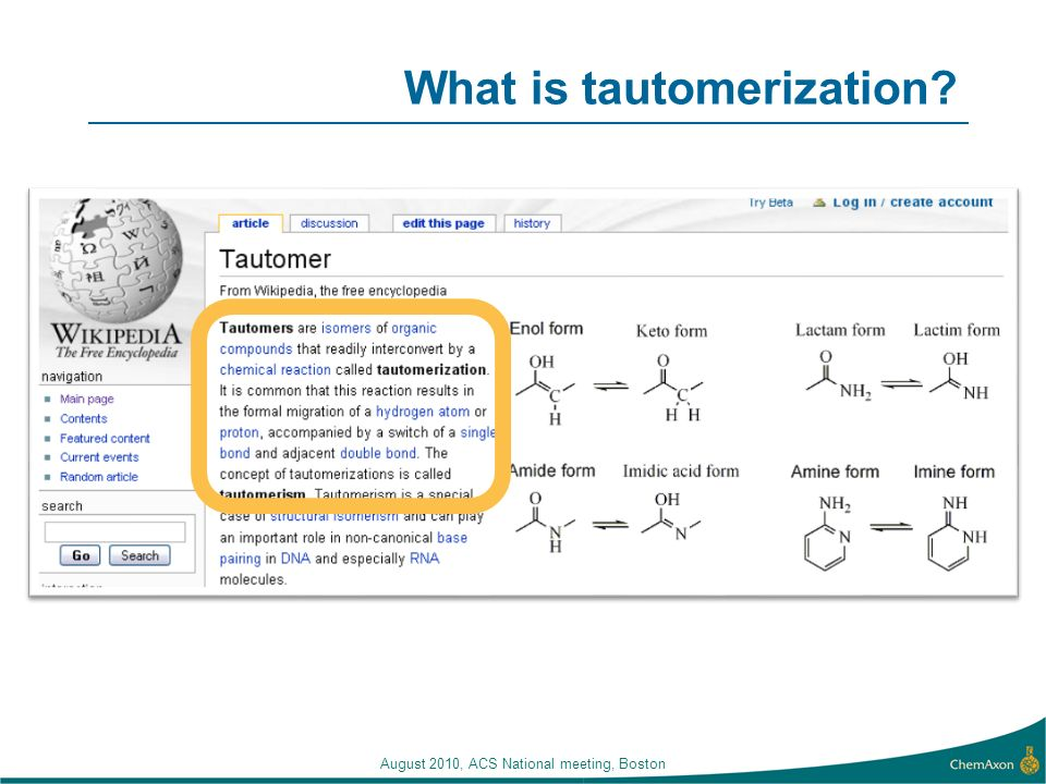 What is tautomerization? August 2010, ACS National meeting, Boston