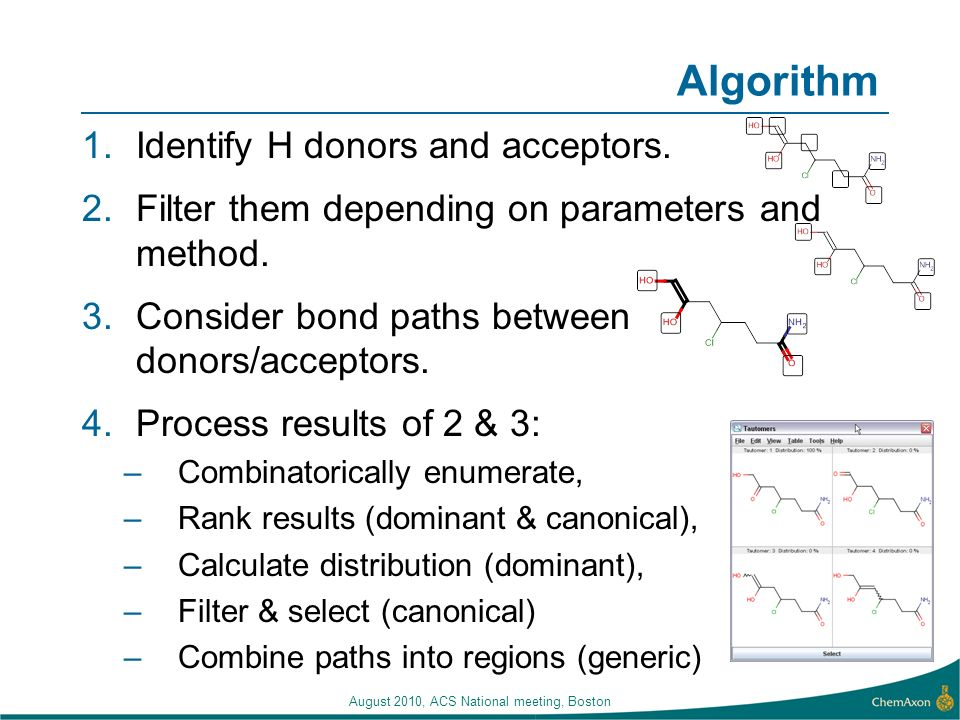 Algorithm 1.Identify H donors and acceptors. 2.Filter them depending on parameters and method. 3.Consider bond paths between donors/acceptors. 4.Proce