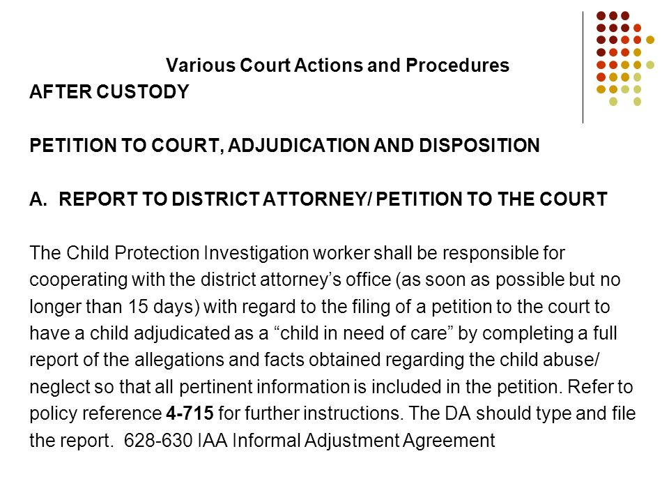 Various Court Actions and Procedures AFTER CUSTODY PETITION TO COURT, ADJUDICATION AND DISPOSITION A. REPORT TO DISTRICT ATTORNEY/ PETITION TO THE COU