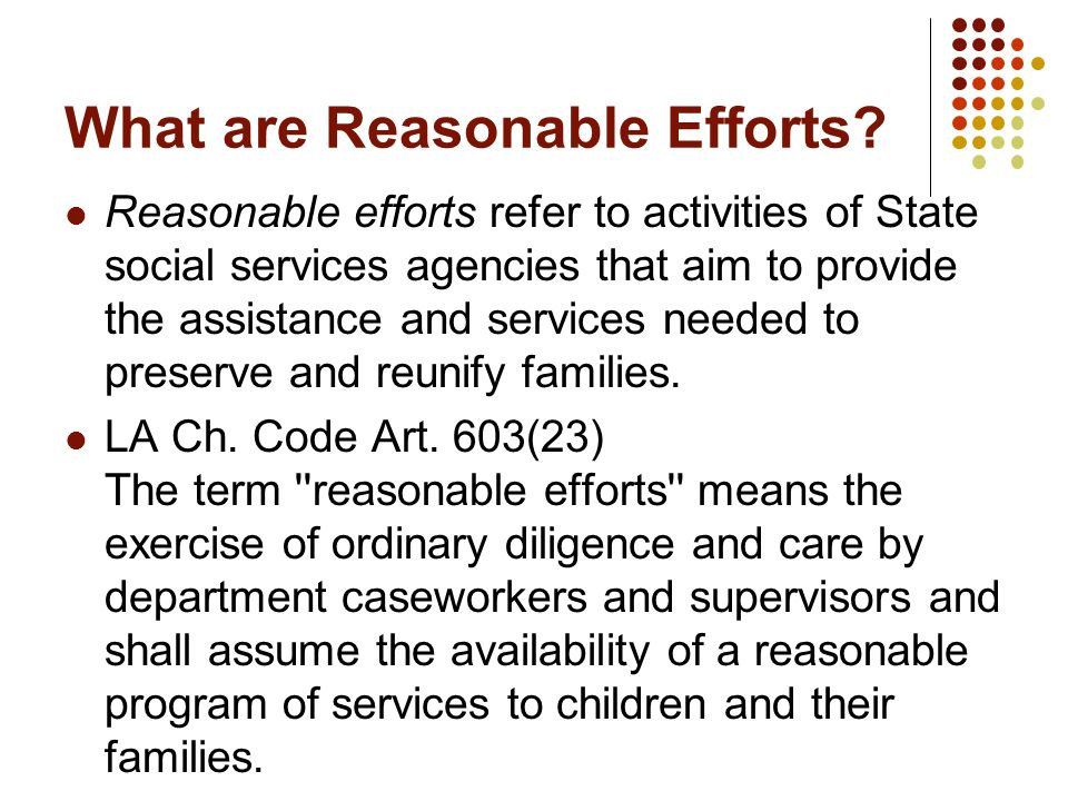 What are Reasonable Efforts? Reasonable efforts refer to activities of State social services agencies that aim to provide the assistance and services