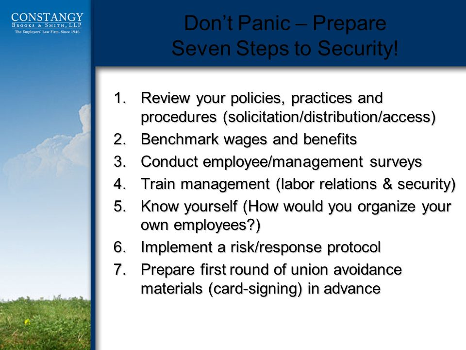 Dont Panic – Prepare Seven Steps to Security.