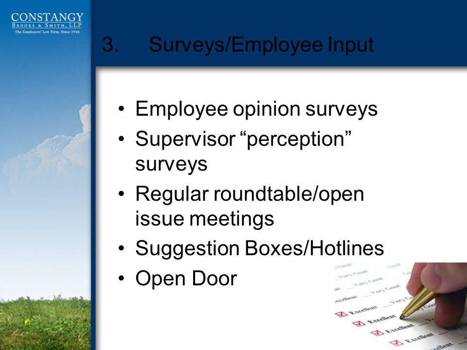 3.Surveys/Employee Input Employee opinion surveys Supervisor perception surveys Regular roundtable/open issue meetings Suggestion Boxes/Hotlines Open Door