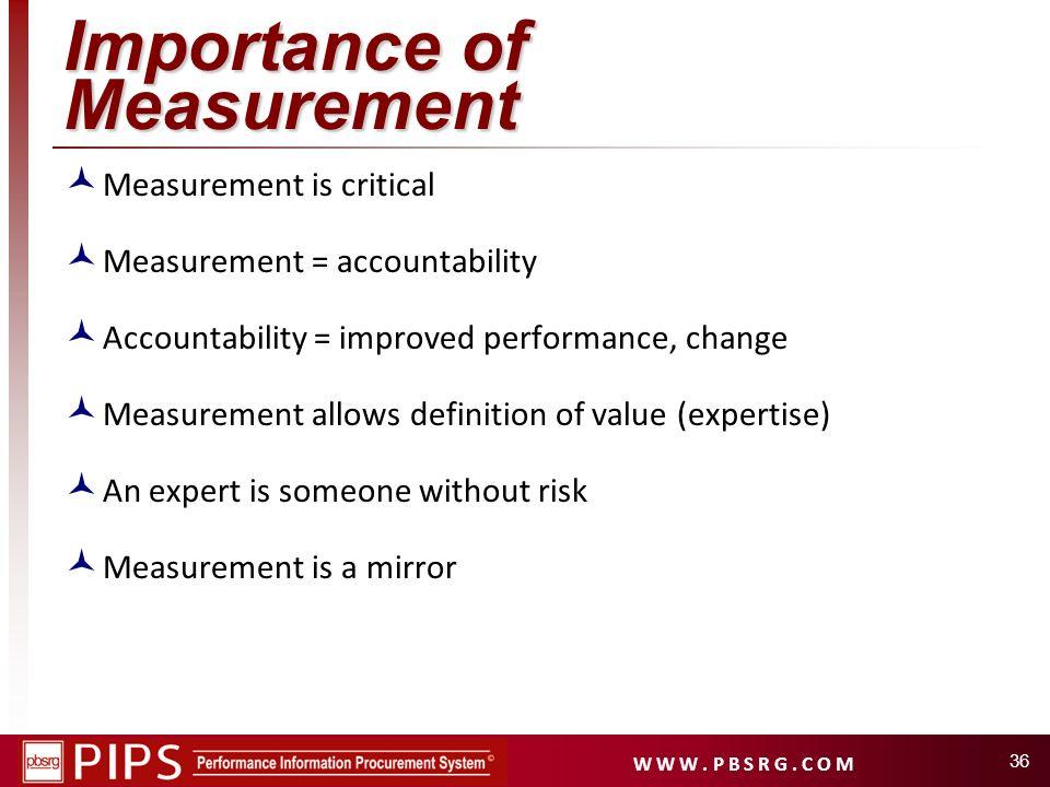 W W W. P B S R G. C O M Importance of Measurement Measurement is critical Measurement = accountability Accountability = improved performance, change M