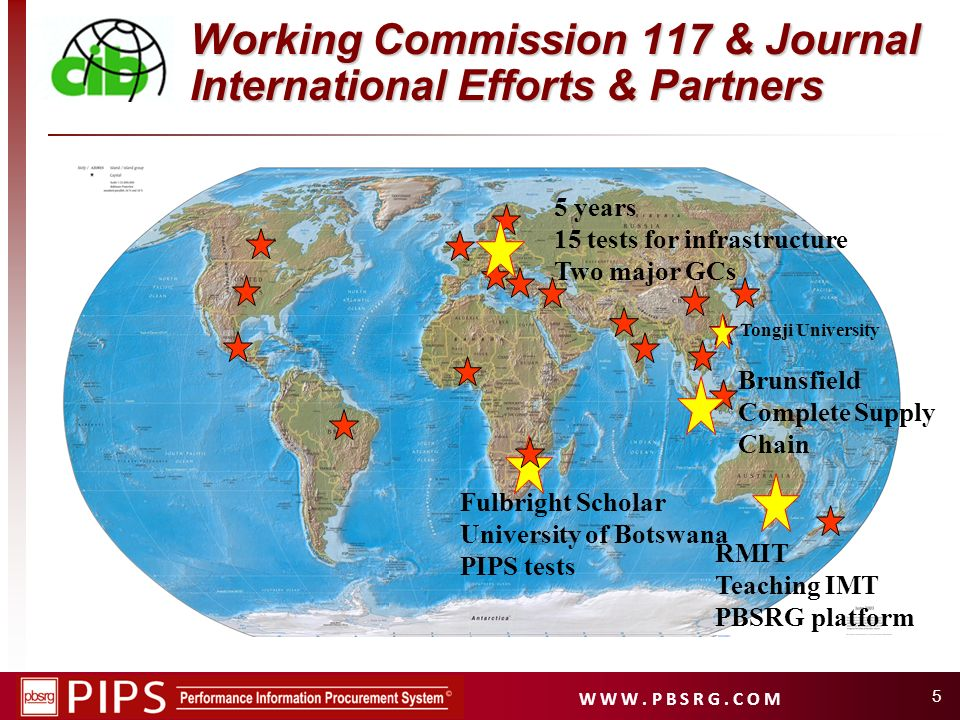 W W W. P B S R G. C O M 5 Working Commission 117 & Journal International Efforts & Partners 5 years 15 tests for infrastructure Two major GCs Fulbrigh