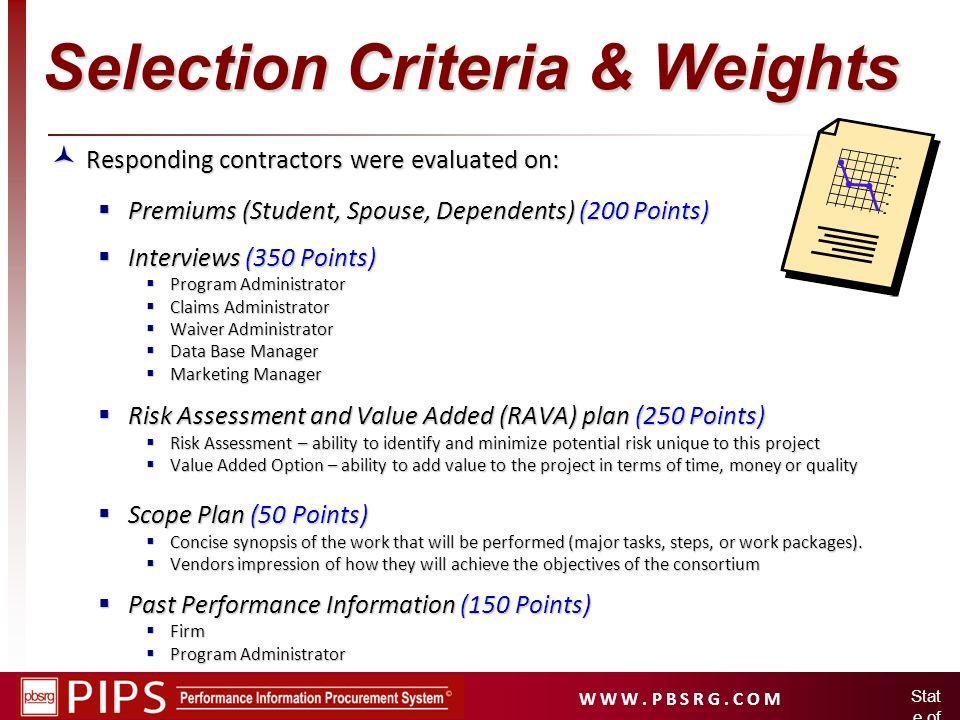 W W W. P B S R G. C O M Stat e of Idah o Selection Criteria & Weights Responding contractors were evaluated on: Responding contractors were evaluated