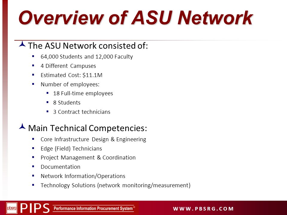 W W W. P B S R G. C O M Overview of ASU Network The ASU Network consisted of: 64,000 Students and 12,000 Faculty 4 Different Campuses Estimated Cost: